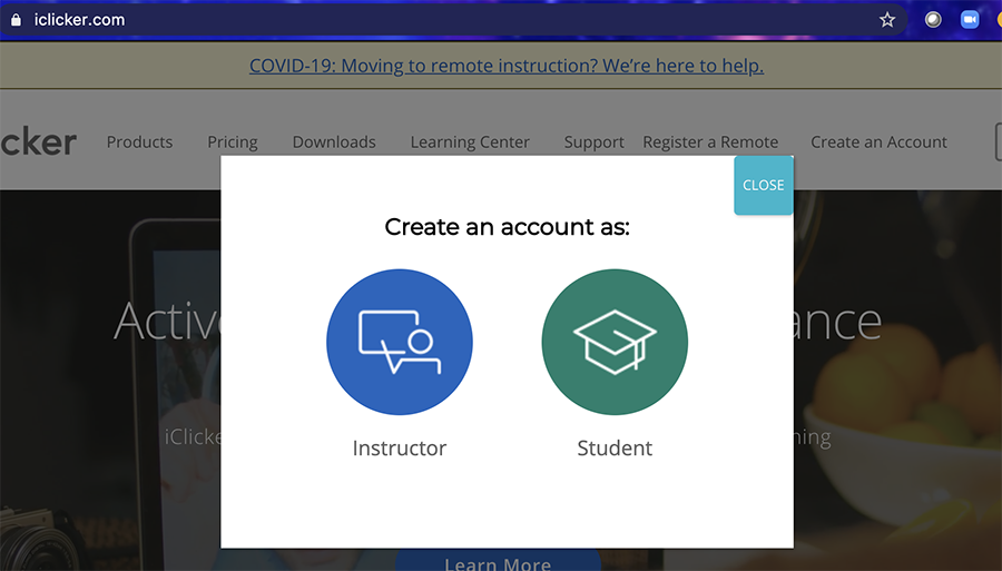 Screen shot - Select your role (Instructor or Student)