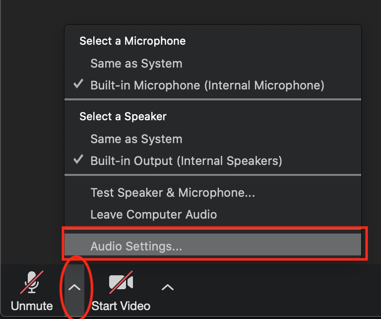 Audio settings location
